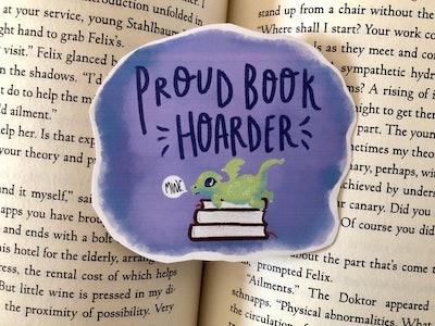 Proud Book Hoarder Sticker / Cute Sticker / Dragon Sticker / Book lover / Die Cut Stickers / Vinyl Sticker