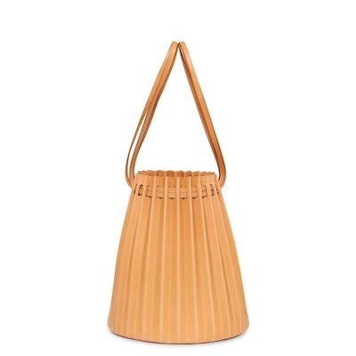 Vegetable Tanned Pleated Bucket Bag