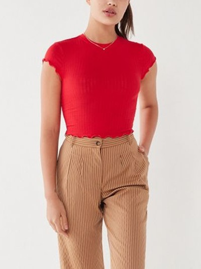 Lindsey Ribbed Lettuce-Edge Cropped Top
