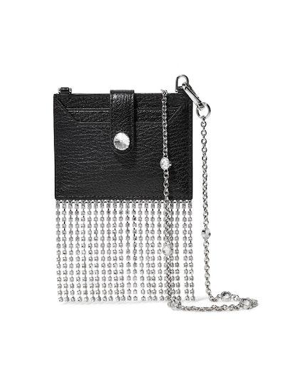 Madras Crystal-Embellished Textured-Leather Shoulder Bag