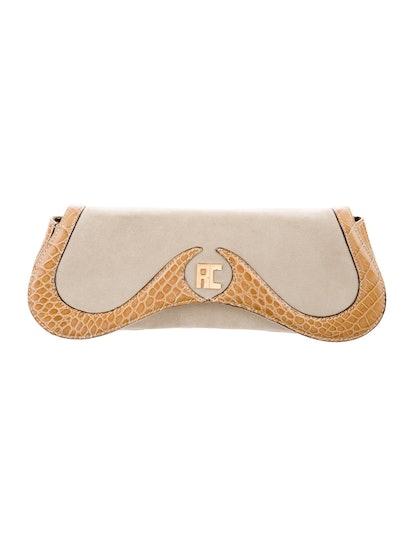 Suede Leather Trim Shoulder Bag