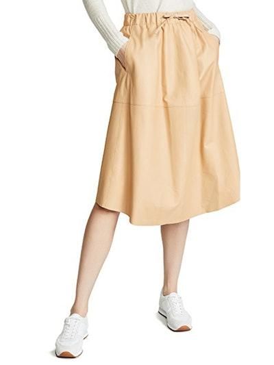 Paneled Leather Skirt
