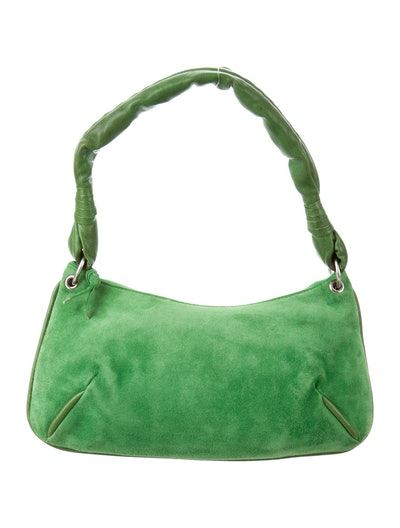 Suede Leather-Trimmed Bag