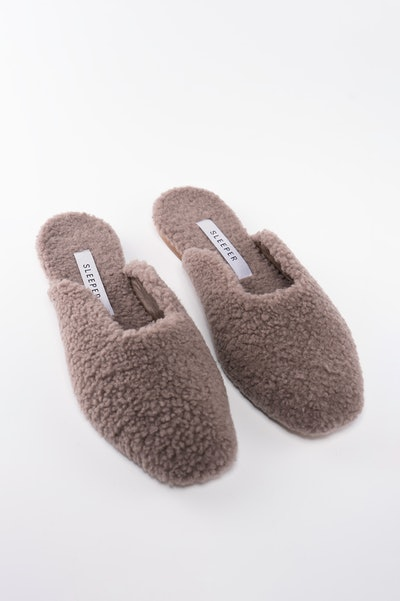 Grey Shearling Slippers