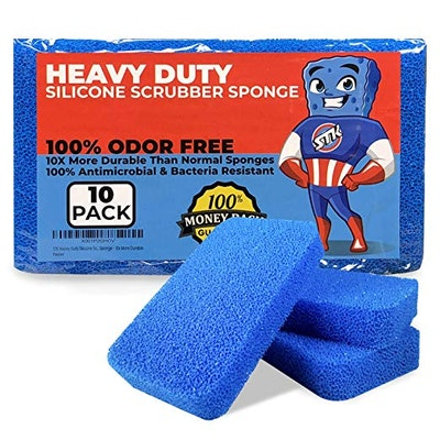 STK Heavy Duty Silicone Scrubber Sponges (10 Pack)