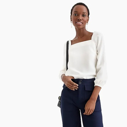 Square-Neck Long-Sleeve Top In 365 Crepe