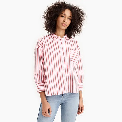 Oversized Button-Up In Cotton Poplin Trifecta Stripe