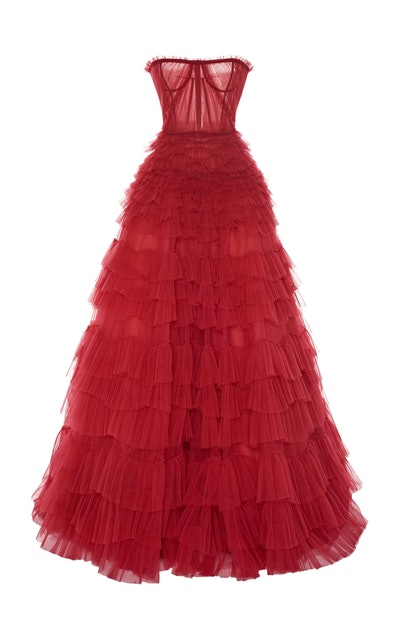 J. Mendel Tiered Ruffle Gown