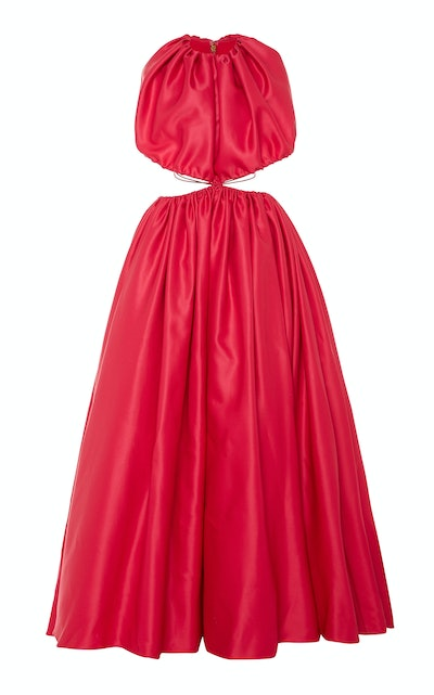 Brandon Maxwell Cut-Out Accented Gathered Gown