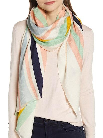 Striped Traveler Oblong Wool & Silk Scarf