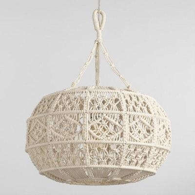 Ivory Macrame Sphere Pendant Lamp