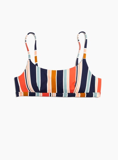 Madewell Second Wave Sport Bikini Top in Towel Stripe