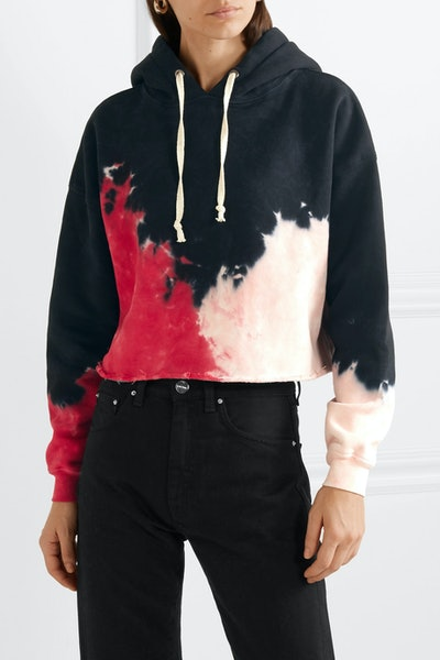 Cropped Tie-Dyed Cotton-Jersey Hoodie