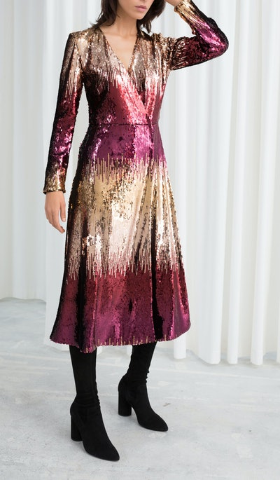 Ombré Sequin Midi Dress