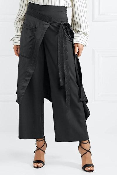 Apron Satin-Trimmed Charmeuse Wide-Leg Pants