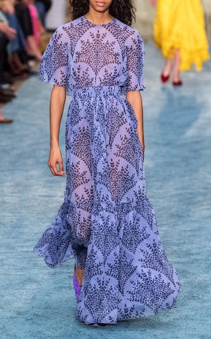 Floral Printed Silk Chiffon Short Sleeve Gown