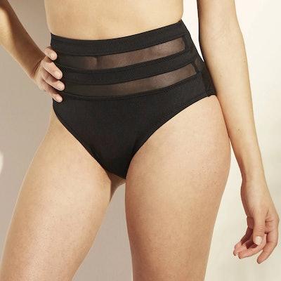 Shade and Shore Women's Mesh Inset High Waist Bikini Bottom