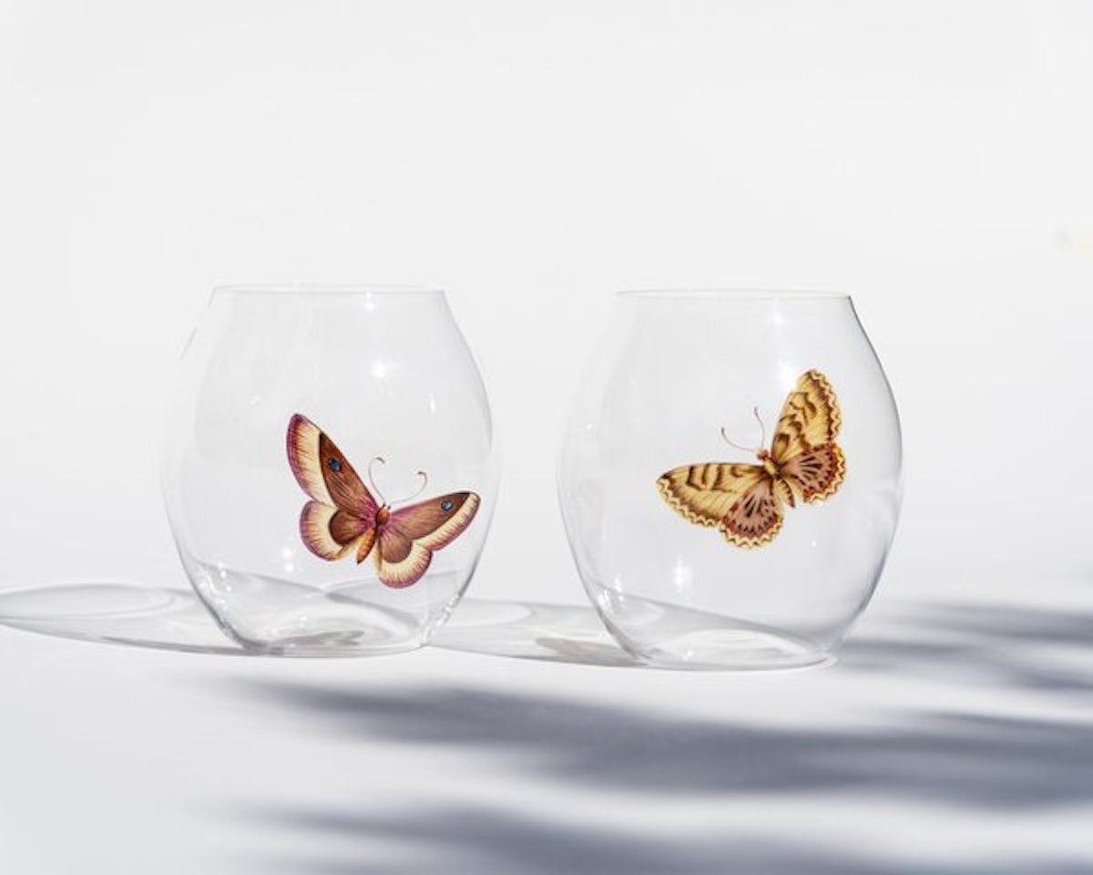 Lobmeyr Hand Painted Butterfly Drinking Glass (Pair)