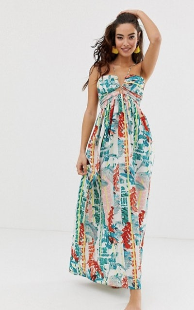 Lace Up Front Beach Maxi Dress in Stripe Palm Print