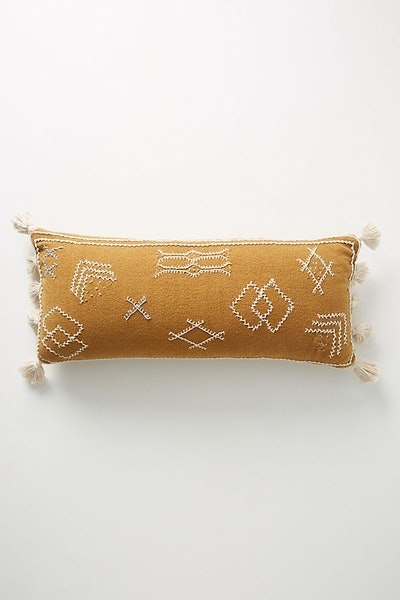 """Joanna Gaines for Anthropologie Embroidered Sadie Pillow, Ochre, 12"""" X 27"""""""