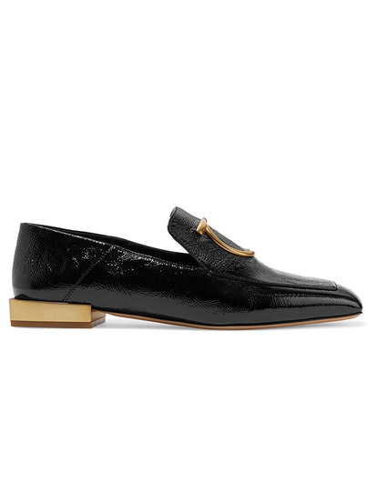Lana Embellished Textured Patent-Leather Collapsible-Heel Loafers
