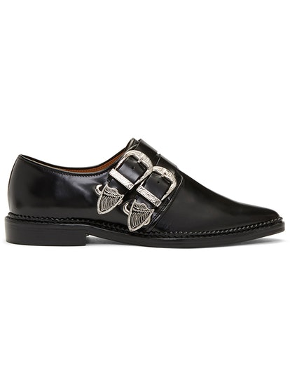 Black Two Buckle Western Oxfords