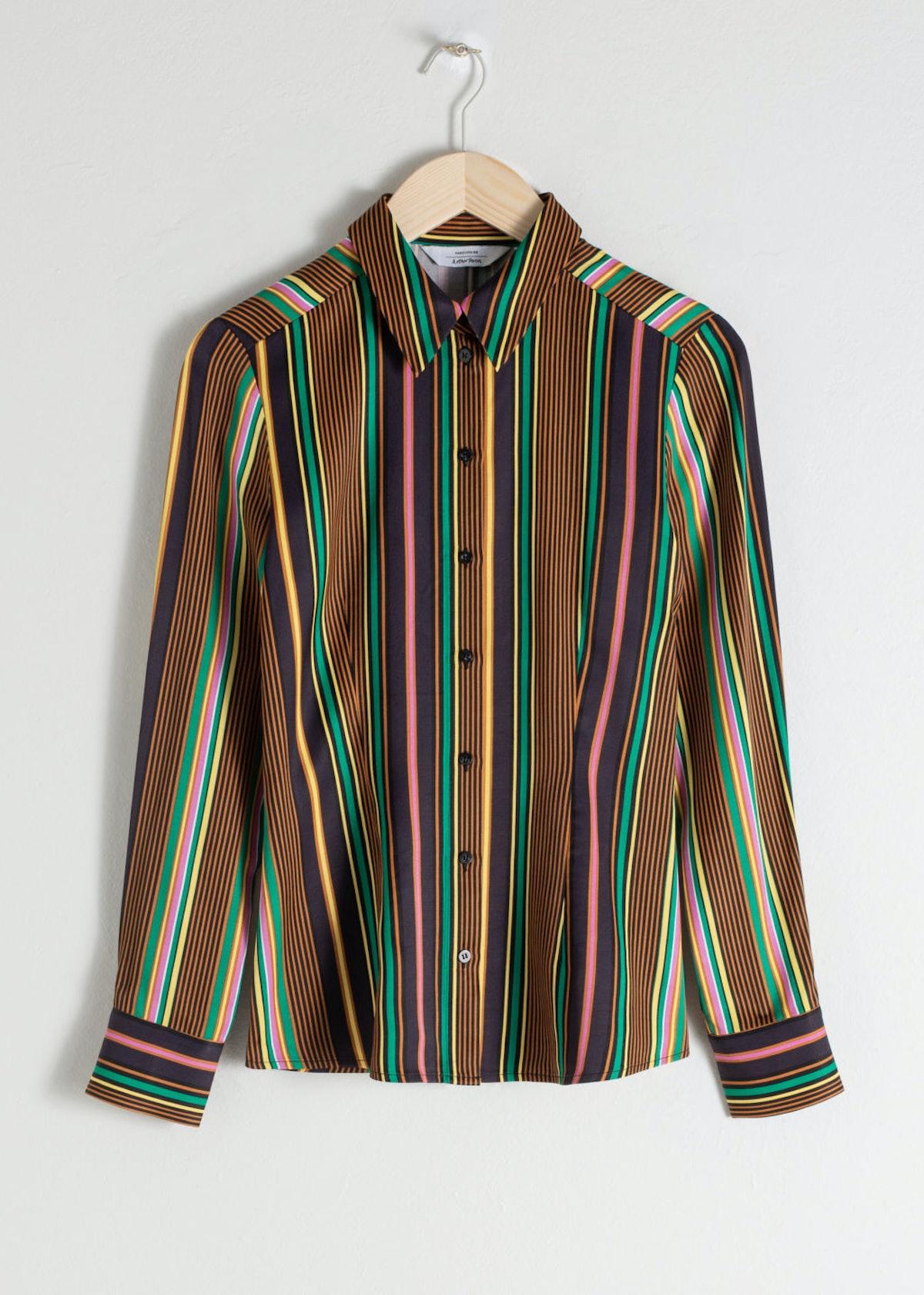 Striped Satin Button Up Shirt