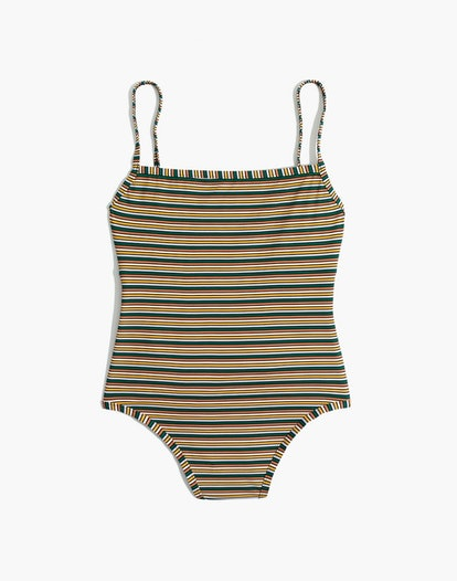 Madewell Second Wave Straight One-Piece Swimsuit in Rainbow Stripe