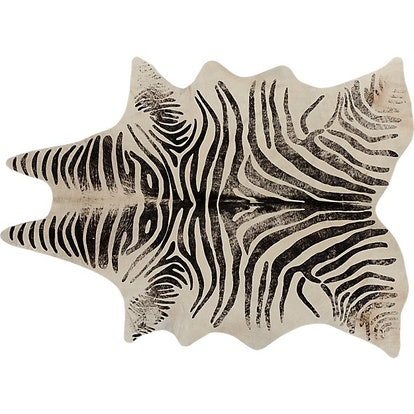 Distressed Faux Zebra Hide Rug 5'x8'