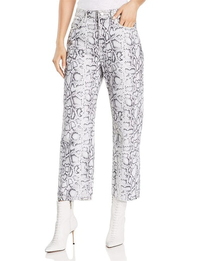 Printed Crop Straight Jeans in Faded Python