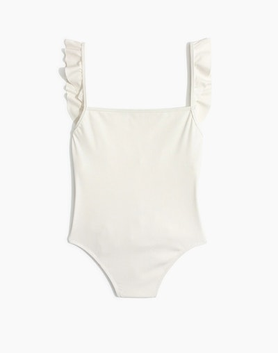 Madewell Second Wave Ribbed Ruffle-Strap One-Piece Swimsuit