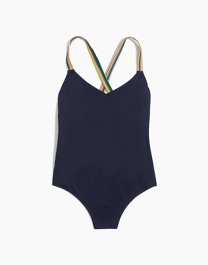 Madewell Second Wave Rainbow-Trimmed Crisscross One-Piece Swimsuit
