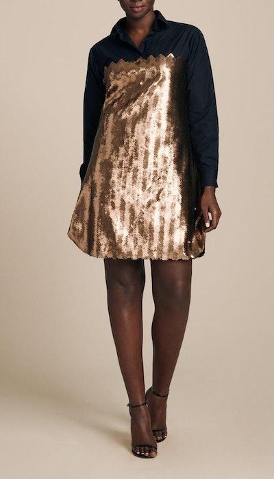 Shirt Dress With Chevron Sequins