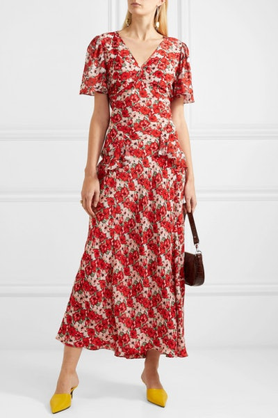Evie Ruffled Floral-Print Silk Crepe de Chine Dress