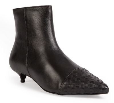 Premium Black Kitten Heel Ankle Boots