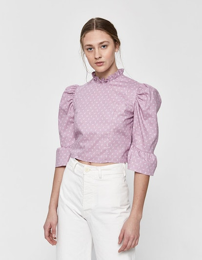 Ruffle Crop Top in Lavender Floral
