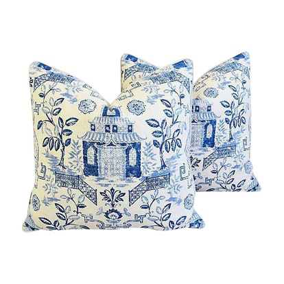 Custom Blue & White Chinoiserie Feather/Down Pillows
