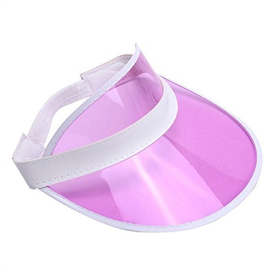 Tennis Beach Colored Plastic Clear Hat Pink