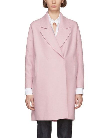 Pink Oversized Fitted Coat