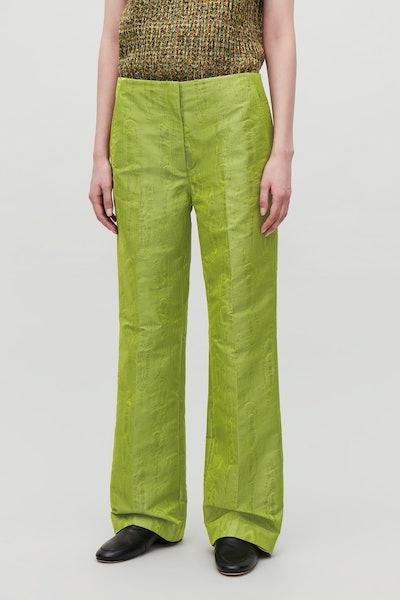 Moire-Pattern Woven Trousers