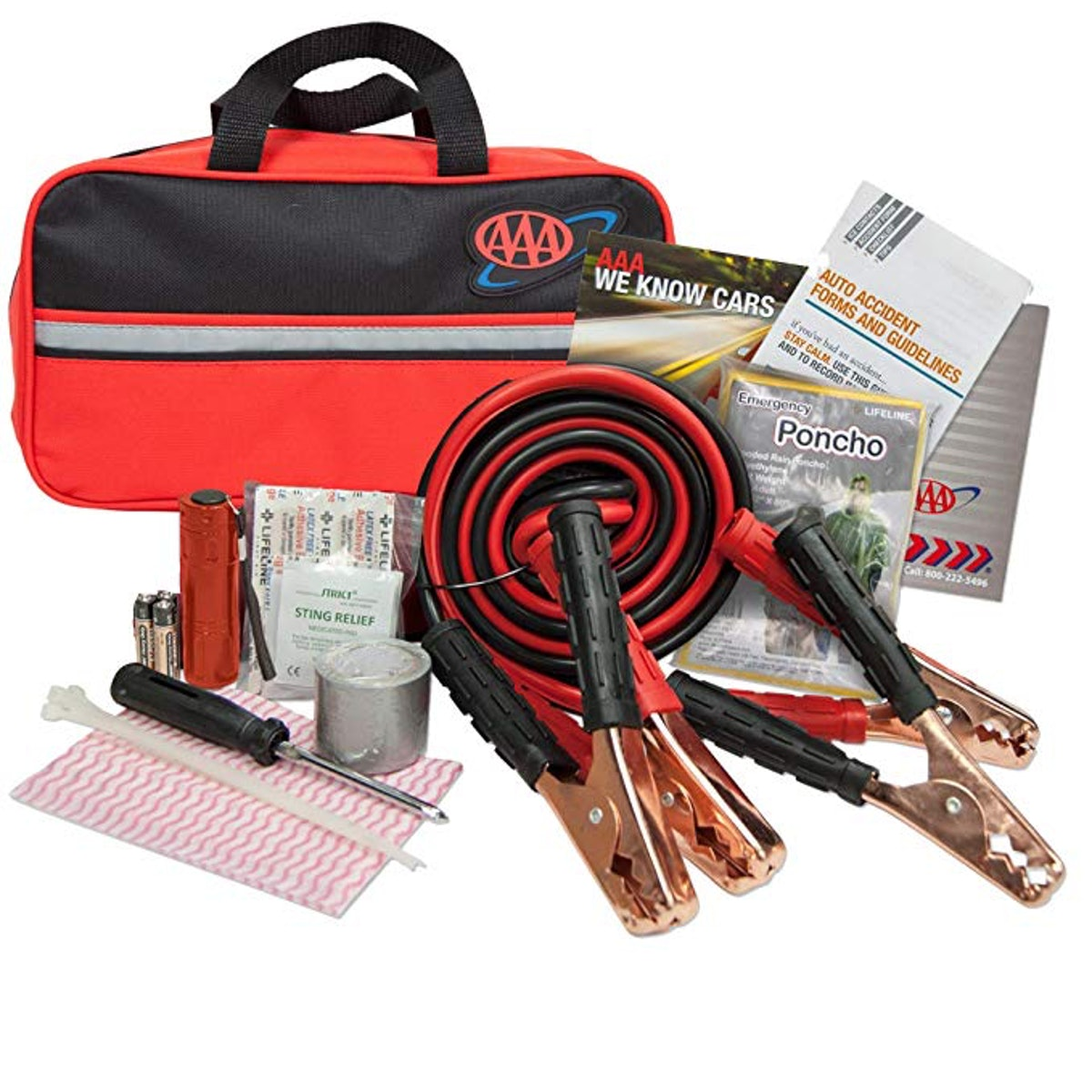 Lifeline 4330AAA Black AAA Premium Road, 42 Piece Emergency Car Jumper Cables, Flashlight and First ...