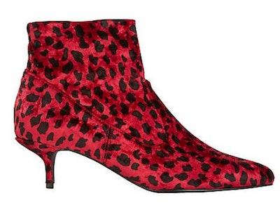 Kitten Heel Animal Print Velvet Boots