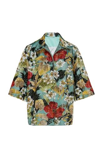 Oversized Embellished Satin Shirt