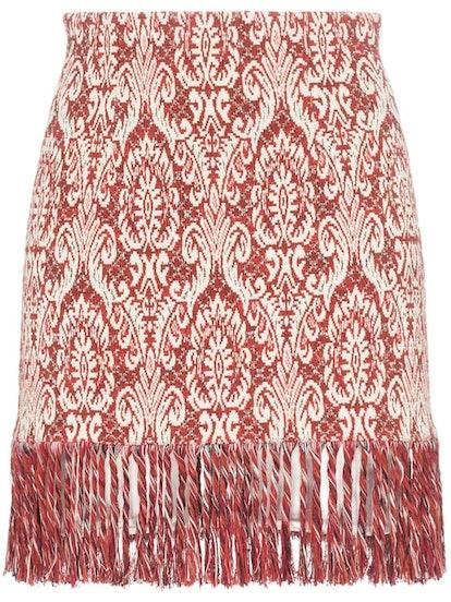 Tapestry Fringed Mini Skirt