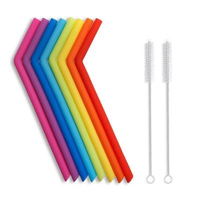 Hiware Reusable Silicone Drinking Straws (10 Straws)
