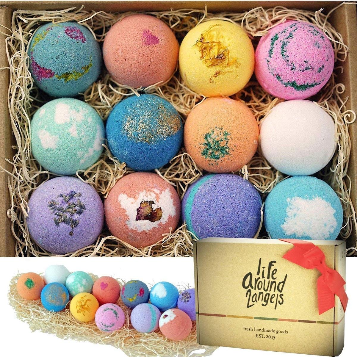 LifeAround2Angels Bath Bombs Gift Set (Set of 12)