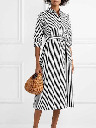 Belted Striped Cotton-Poplin Midi Dress