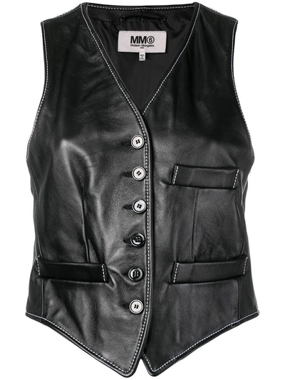 Cropped Leather Waistcoat