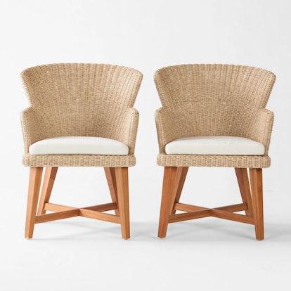 Smith & Hawken™ - Staton 2pk Wood & All Weather Wicker Patio Dining Chair w/Sunbrella Cushion - Brown/Beige