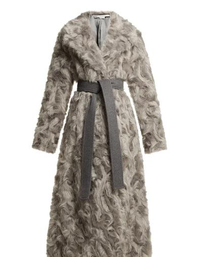 Tie-Waist Faux Fur Coat